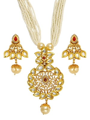 traditional floral antique kundan red pearl 22k gold
