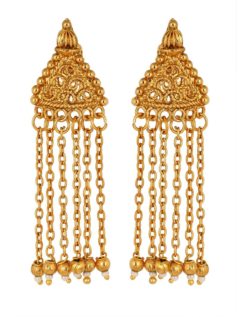 traditional temple antique kundan red pearl 22k gold
