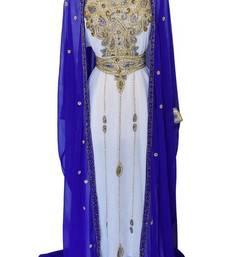 Multicolor zari stone work georgette islamic style gown beads embedded partywear farasha