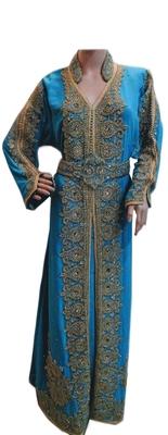 Turquoise zari stone work georgette islamic style gown beads embedded partywear farasha