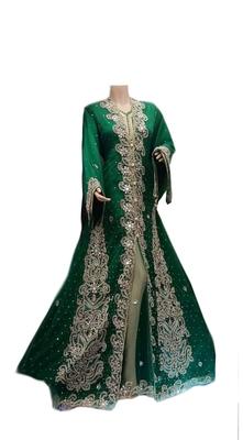 Green zari stone work georgette islamic style gown beads embedded partywear farasha