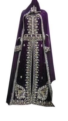 Purple zari stone work georgette islamic style gown beads embedded partywear farasha