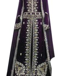 Purple zari stone work georgette islamic style gown beads embedded partywear farasha