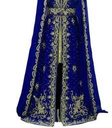 Blue zari stone work georgette islamic style gown beads embedded partywear farasha