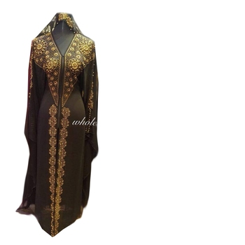 Brown zari stone work georgette islamic style gown beads embedded partywear farasha
