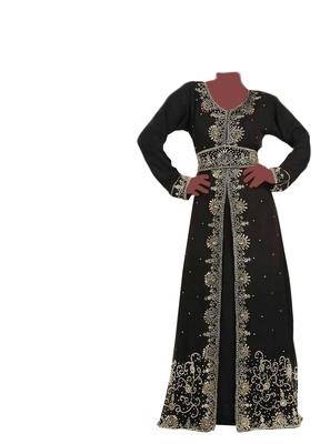 Brown zari stone work georgette islamic style gown beads embedded partywear farasha