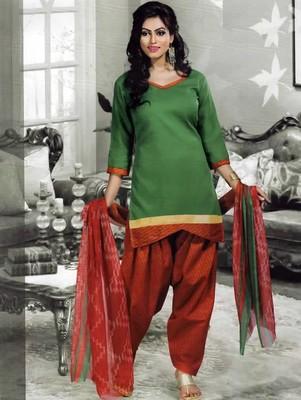 Green plain faux cotton unstitched salwar with dupatta