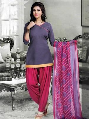 Blue plain faux cotton unstitched salwar with dupatta