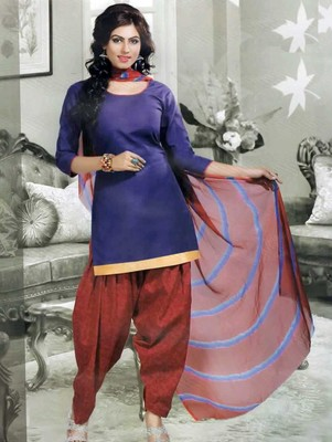 Blue plain faux cotton unstitched salwar with dupatta