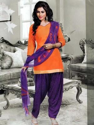 Saffron plain faux cotton unstitched salwar with dupatta