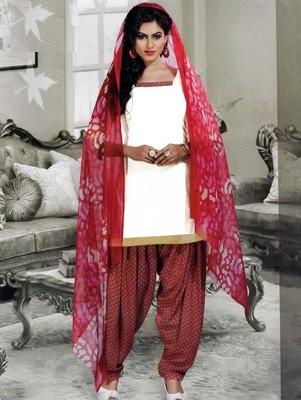 White plain faux cotton unstitched salwar with dupatta