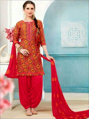 Red embroidered satin unstitched salwar with dupatta