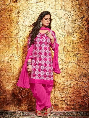 Magenta printed cambric unstitched salwar with dupatta
