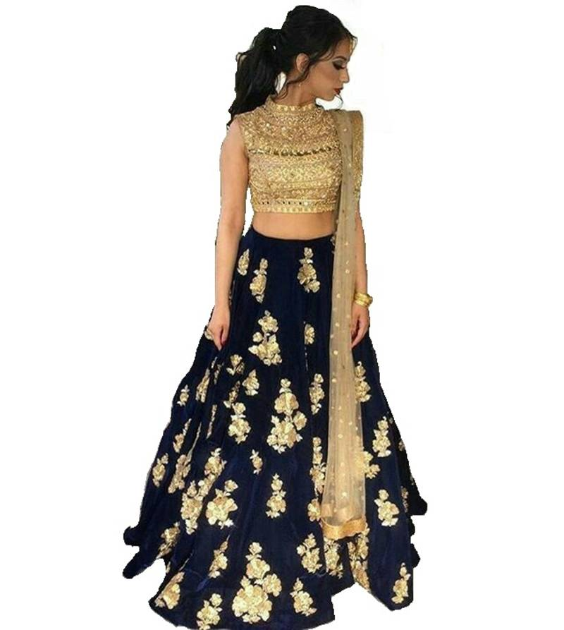 5bba6db46fde6 Blue fancy velvet semi stitched lehenga - Fashion Care - 2592717