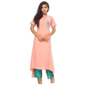 Pink plain rayon ethnic-kurtis