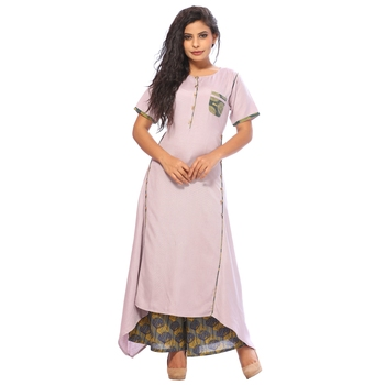 Light-purple plain rayon ethnic-kurtis