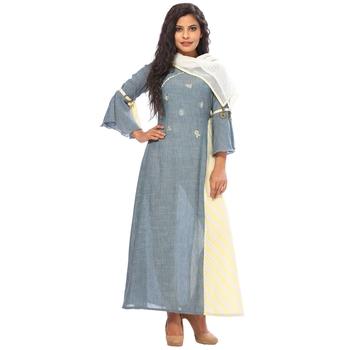 Grey embroidered silk ethnic-kurtis