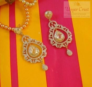 Cubic Zircon Partywear Dangler Earrings