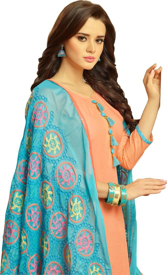 d5c88e8a6a Peach & Sky Blue Cotton Women's Dress Material With Phulkari Dupatta ...