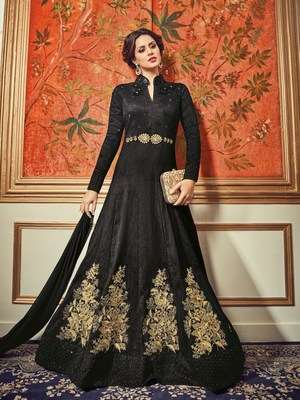 Black embroidered dupion semi stitched Anarkali Suit