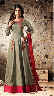 Grey embroidered dupion semi stitched salwar with dupatta