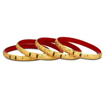 Guarantee Golden Dyed Bangles With Intricate Design And Enamel Undercoating In Mulitcolour