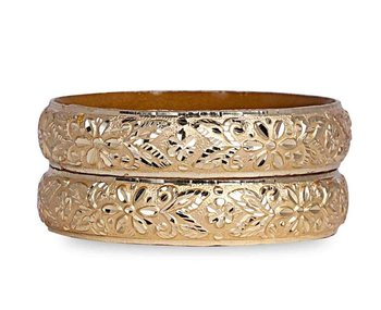 Broad Look Like Gold Dyed Bracelet Pair By Leshya