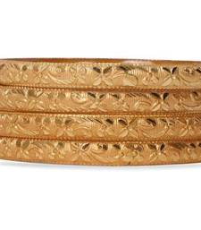Set Of 4 Gold Dyed Bracelets With Delicate Flower Patterns