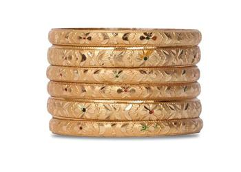 Set Of 6 Gold Dyed Bracelets With Intricate Floral Design