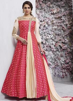 Red Taffeta Anarkali Salwar Kameez