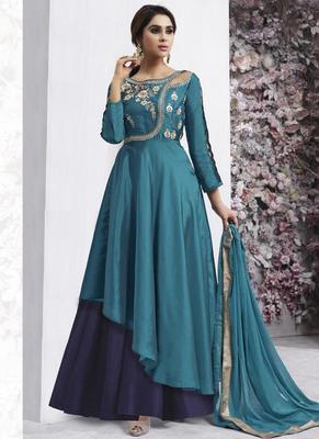Light Blue Taffeta Anarkali Salwar Kameez
