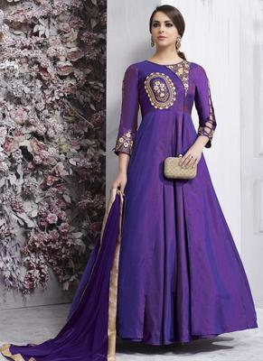 Purple Taffeta Anarkali Salwar Kameez