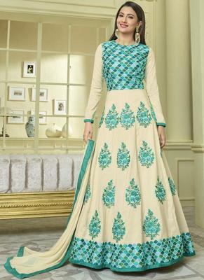 Cream Silk Anarkali Salwar Kameez