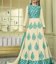 Buy Cream Silk Anarkali Salwar Kameez silk-salwar-kameez online