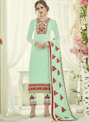 Sky Blue Georgette Straight Suits