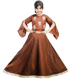 Brown dupian silk hand embroidery kids stitched lehenga with dupatta