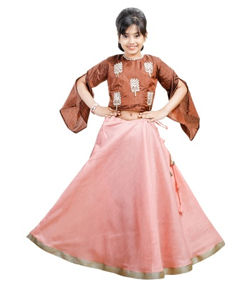 Red Dupian Silk Hand Embroidery Kids Stitched Lehenga With Dupatta
