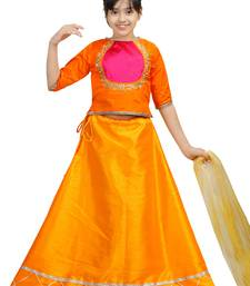 Orange dupian silk hand embroidery kids stitched lehenga with dupatta