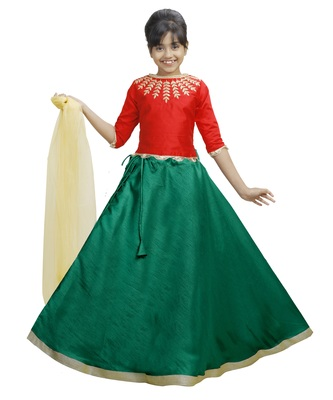 Green Dupian Silk Hand Embroidery Kids Stitched Lehenga With Dupatta