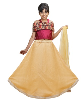 Gold Dupian Silk Hand Embroidery Kids Stitched Lehenga With Dupatta