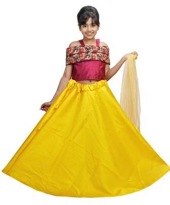 Yellow Dupian Silk Hand Embroidery Kids Stitched Lehenga With Dupatta