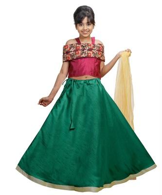 Green Dupian Silk Hand Embroidery Kids Stitched Lehenga With Dupatta