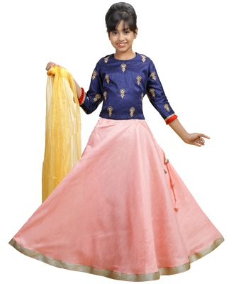 Pink Dupian Silk Hand Embroidery Kids Stitched Lehenga With Dupatta