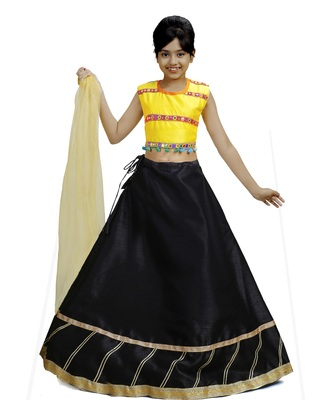 Black Dupian Silk Hand Embroidery Kids Stitched Lehenga With Dupatta