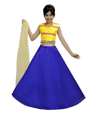 Blue Dupian Silk Hand Embroidery Kids Stitched Lehenga With Dupatta