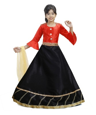 Black Dupian Silk Hand Embroidery Kids Stitched Lehenga With Dupatta