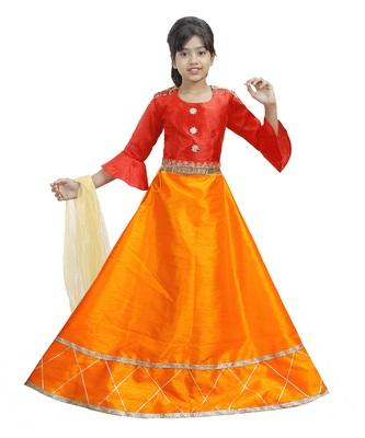 Orange Dupian Silk Hand Embroidery Kids Stitched Lehenga With Dupatta