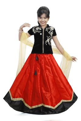 Black And Red Dupian Silk Hand Embroidery Kids Stitched Lehenga With Dupatta