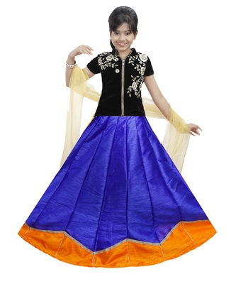 Blue And Orange Dupian Silk Hand Embroidery Kids Stitched Lehenga With Dupatta