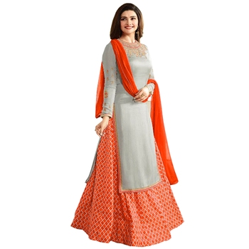 Grey embroidered faux crepe salwar